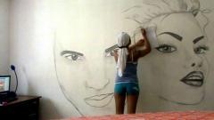 Рисунок на стене. Роспись стен.